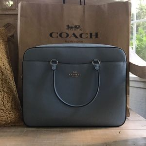 NWT Coach light blue laptop bag